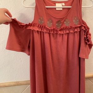 Cold Shoulder Embroidered Terra Cotta Dress
